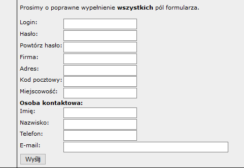 Okno rejestracji konta w systemie RMA