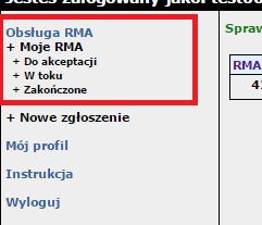 Sprawdzanie statusu zgłoszeń RMA